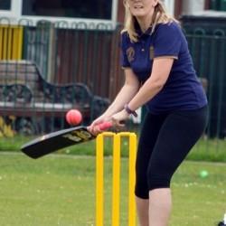 Cllr Rich playing cricket