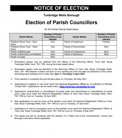 PArish council elections notice