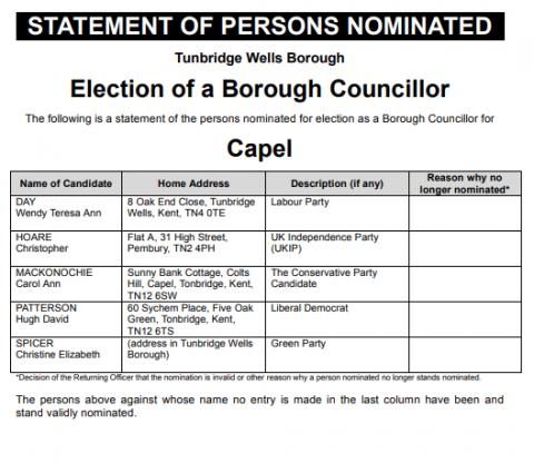 Statement of Borough Coucillors nominated