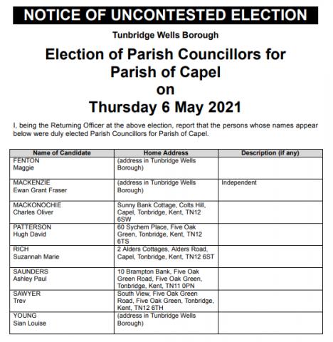 Uncontested parish council election